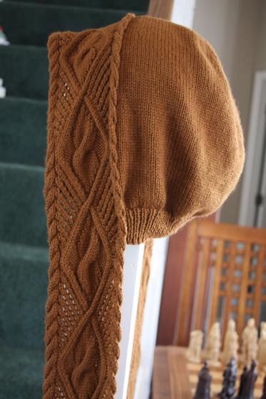 Lace & Cable Hooded Scarf - Knitting Patterns and Crochet Patterns from KnitPicks.com