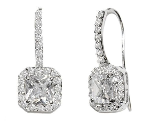 €98 Princess-Cut Crystal Drop Earrings, Adele | The Wedding Hair Accessory and Bridal Jewellery Experts.