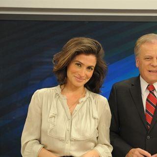 Renata Vasconcellos ao lado dos apresentadores do 'Bom dia Brasil', Ana paula Araujo e Chico Pinheiro