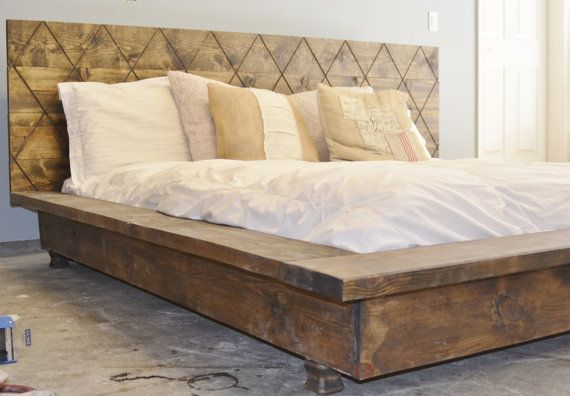 Sale 15% off Rustic Wood Platform Bed frame by KnotsandBiscuits