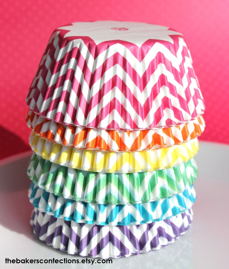 Girls Rainbow Chevron Cupcake Liners - ZigZag Baking Cups, Designer Grease Resistant Liners (120 count - 20 each color). $9.75, via Etsy.