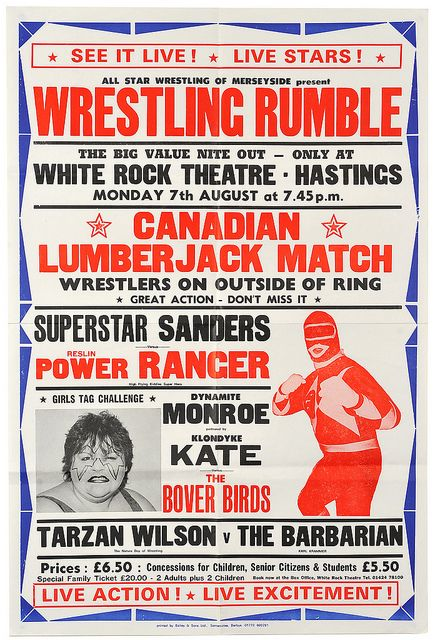british wrestling posters at the White Rock in Hastings