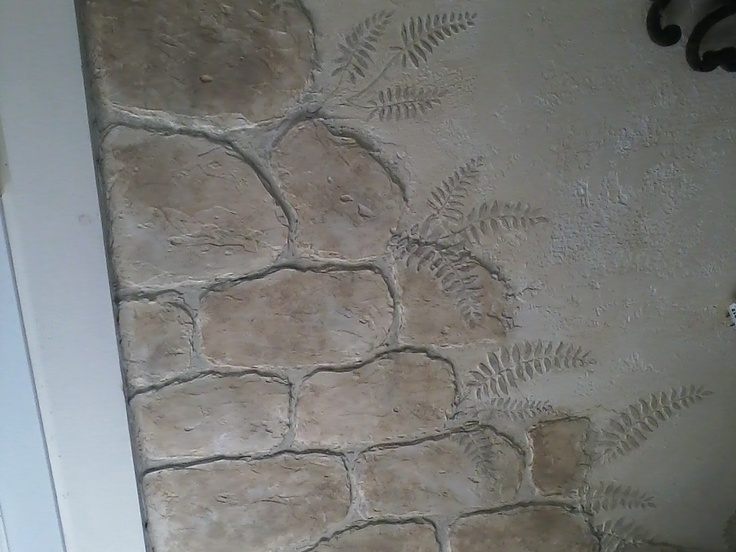 stones made from joint compound  ferns with stencil and