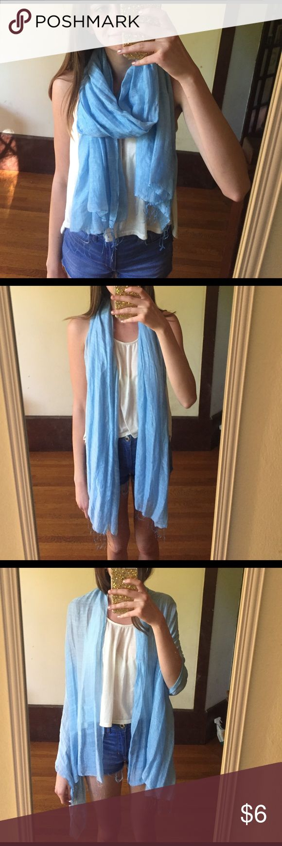 Light Blue Silk Scarf Sky blue real silk scarf. Very lightweight and perfect for spring and summer. Great for traveling, can pack small Accessories Scarves & Wraps