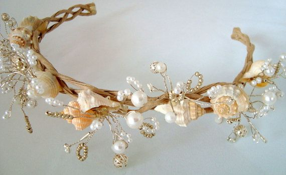 seashell headpiece | White Bridal Wreath, Seashell Wreath, Wedding Headband, Beach Wedding ...