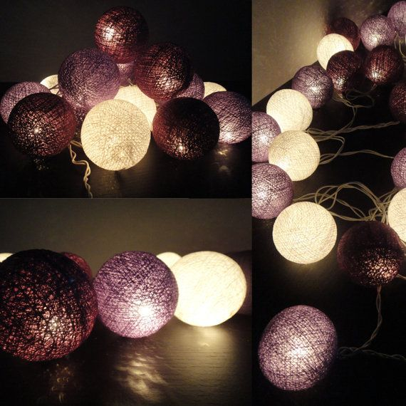 (3) 20 Mixed Purple Tone Cotton Balls Fairy String Lights Home Decor Party Patio Wedding Floor Table or Hanging Gift Home Decoration on Wanelo