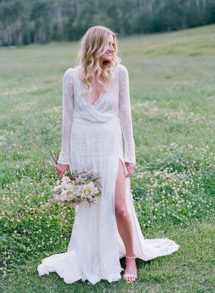 Inbal Dror Wedding Dress With High Leg Slit and Beading