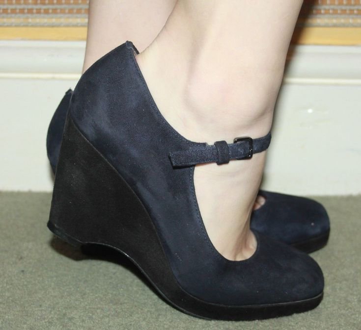 M&S Footglove Fashion Navy Dark Blue Suede Wide Fit Dolly Wedge Shoes UK 5 | eBay