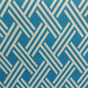This is a blue and white geometric design spun polyester indoor outdoor fabric by Swavelle Mill, suitable for any decor.  Perfect for pillows, cushions and furniture.