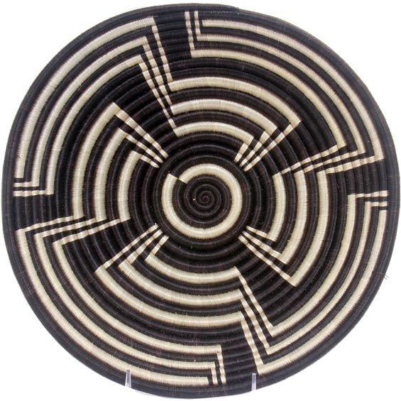 African Basket - Rwanda Sisal Coil Weave Bowl - 12 Inches Across - #42254