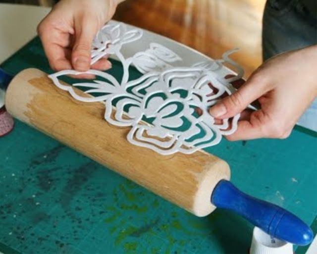 Make a stencil from foam and apply to a roller for printing