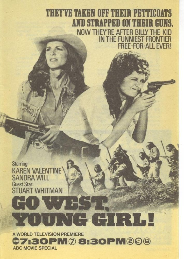 1978 KAREN VALENTINE TV GUIDE AD GO WEST YOUNG GIRL~ABC tv Premiere movie ad