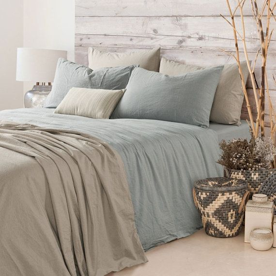 Duck Egg blue duvet cover is a great, laid-back neutral for the bed. Made of soft-washed linen, each piece is handmade with care, bringing a look of timeless sophistication to the master. Machine washable. Our linen fabric are woven from the finest flax, only the selected smooth fibers are chosen before weave, and they are tightly woven, which make it strong and lasting. We are pride our self for our linen fabric comparable to the high end store Our linen bedding are handcrafted, made to…