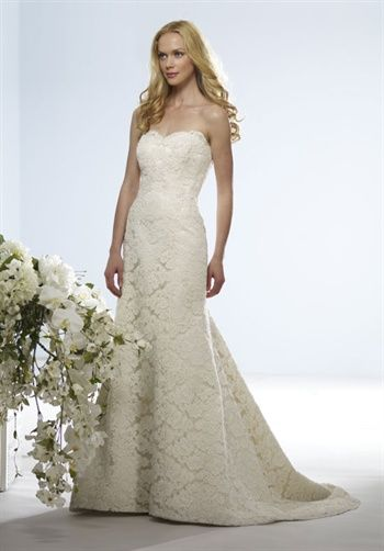 Birnbaum and Bullock - Angelina.Gown features beading and lace. Gown is custom sized.    Silhouette: Mermaid  Neckline: Sweetheart
