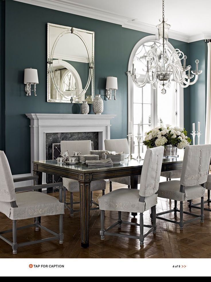 Dining room with deep teal blue walls for the home for Teal dining room table