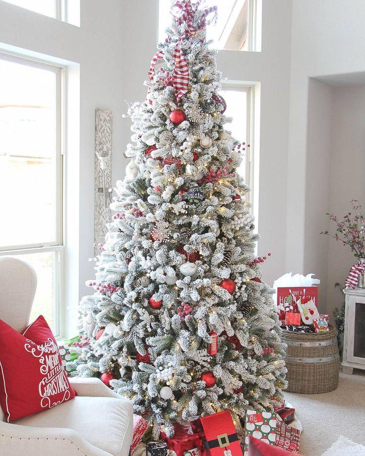 "King Of Christmas (@kingofchristmas) on Instagram: ""Beautiful 9 Foot King Flock Christmas Tree Thank you @jesshogancrum for the beautiful decor…"""