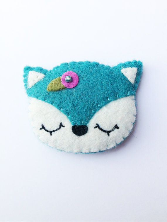 Snowy Fox Brooch Kawaii Fox Brooch Arctic Fox by FeltCute on Etsy