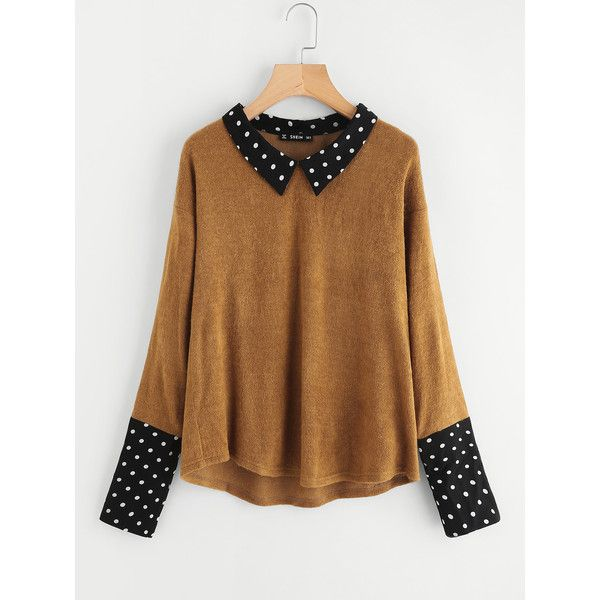 SheIn(sheinside) Contrast Polka Dot Collar And Cuff Tee ($12) ❤ liked on Polyvore featuring tops, t-shirts, brown, polka dot tee, stretch t shirt, color block t shirt, brown tee and long-sleeve crop tops