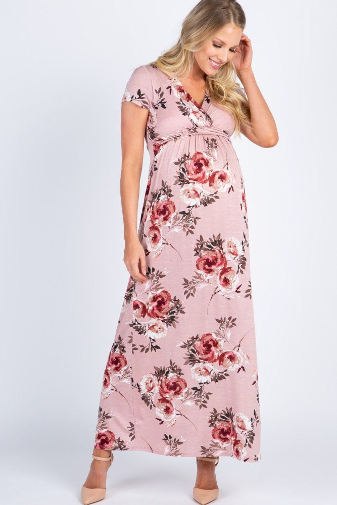 Pink Floral Draped Maternity Nursing Maxi Dress Maxi Dress Nursing Maxi Dress Stylish Maternity Outfits