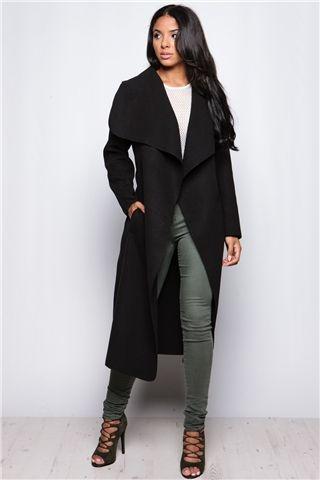 Evie Black Long Length Waterfall Coat
