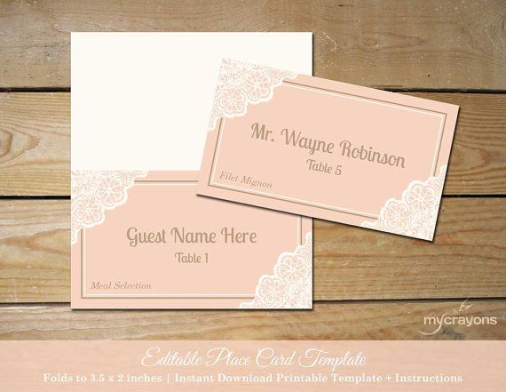 printable lace wedding place cards download peach wedding instant download editable