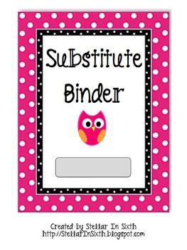 Page dividers/headings for your substitute binder. Also includes a