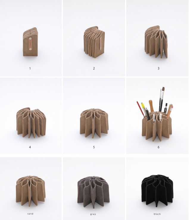 Accordeon pen holder (or brush holder of course)