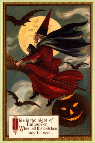 "Vintage Halloween Postcard ~ Witch & Black Cat Riding Broom * ""This"