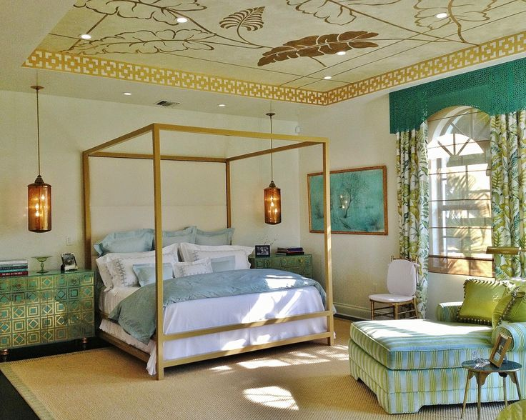 Decor Dreams & Schemes Pretty Florida Bedroom, love the ceiling, night chests and lanterns
