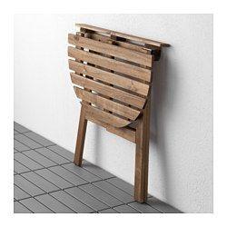IKEA - ASKHOLMEN, Table murale, ext, Permet de gagner de l'espace car la table pliante peut être mise de côté quand elle ne sert pas.Pour accroître sa résistance et que vous puissiez apprécier l'aspect naturel du bois, ce meuble a été prétraité avec plusieurs couches de teinture pour bois semi-transparente.