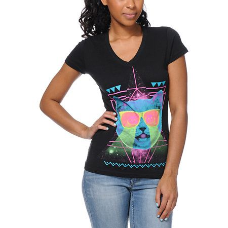Get down to the drum and bass and whomp to that dubstep in the Techno Cat girls v-neck tee shirt from A-Lab. The neon color Techno Cat graphic will trip you out while your dancing to some electronic sounds. The A-Lab slim fit, short sleeve, v-neck tee is 100% cotton and 100% comfy!