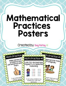 8 Mathematical Practices Posters for Primary-Aged LearnersThese posters use technical math terms and kid-friendly wording to display the 8 math practices (common core) complete with pictures.  There are 8 posters total (1 per math practice).  *****************************************************************Please leave feedback for this product.
