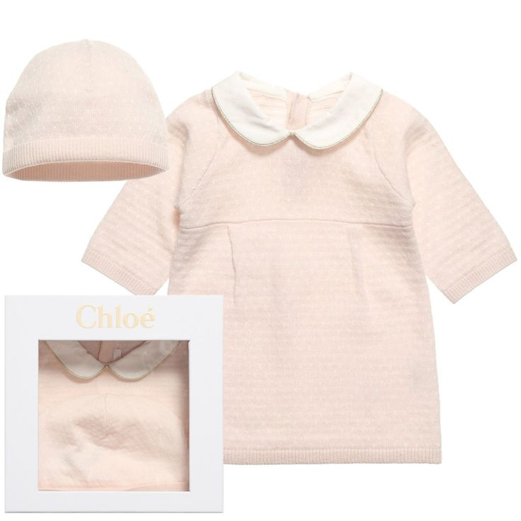 Chloe Pink Knitted Dress and Hat Gift Set