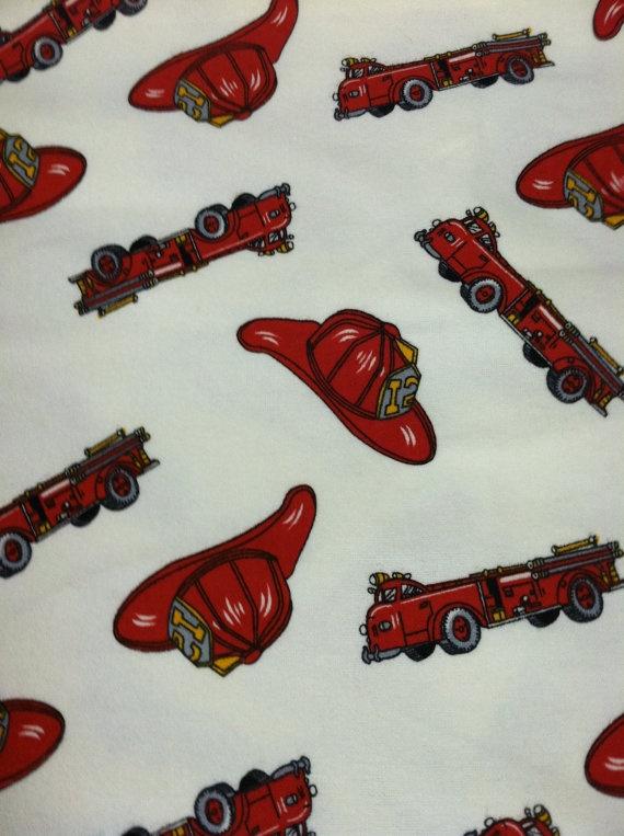 3 Yard Cotton Flannel Prints Designer Fabric Retro Fireman