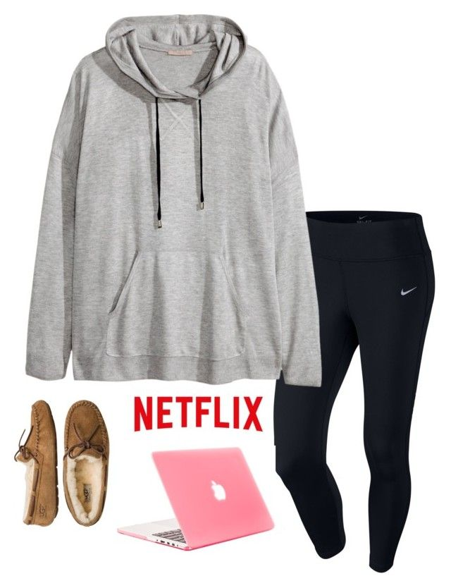 """netflix night"" by helenhudson1 ❤ liked on Polyvore featuring NIKE, H&M and UGG Australia"