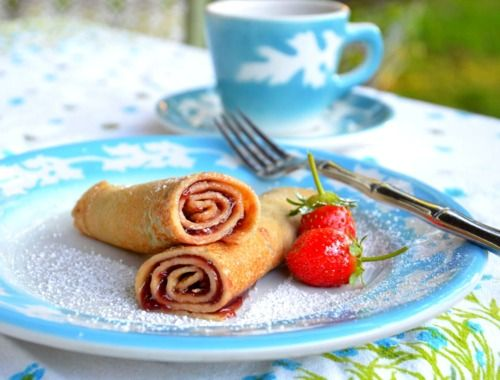Palacsintas (Hungarian Pancakes)  I loved these growing up! My grandpa always made them.