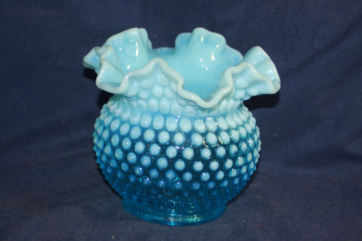 Vintage Fenton Hobnail Blue Opalescent Large Glass Bowl Ruffled Rim