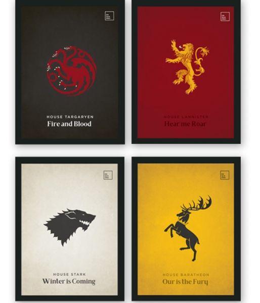 Pôster/Quadro minimalista Coleção Game Of Thrones (A5)