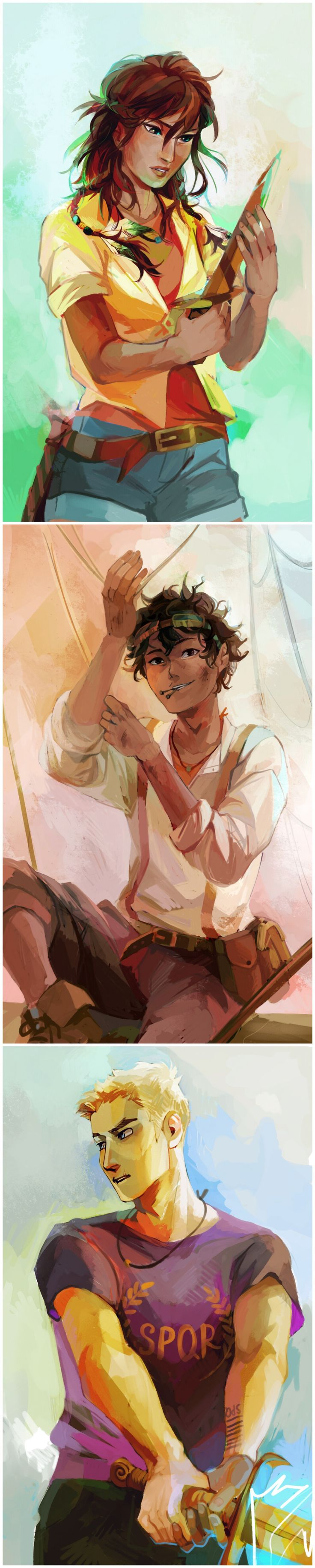 "Viria: Heroes of Olympus trio for Rick Riordan's website! I loved drawing Leo so much I think he's probably one of the most well-turned portraits:"")"