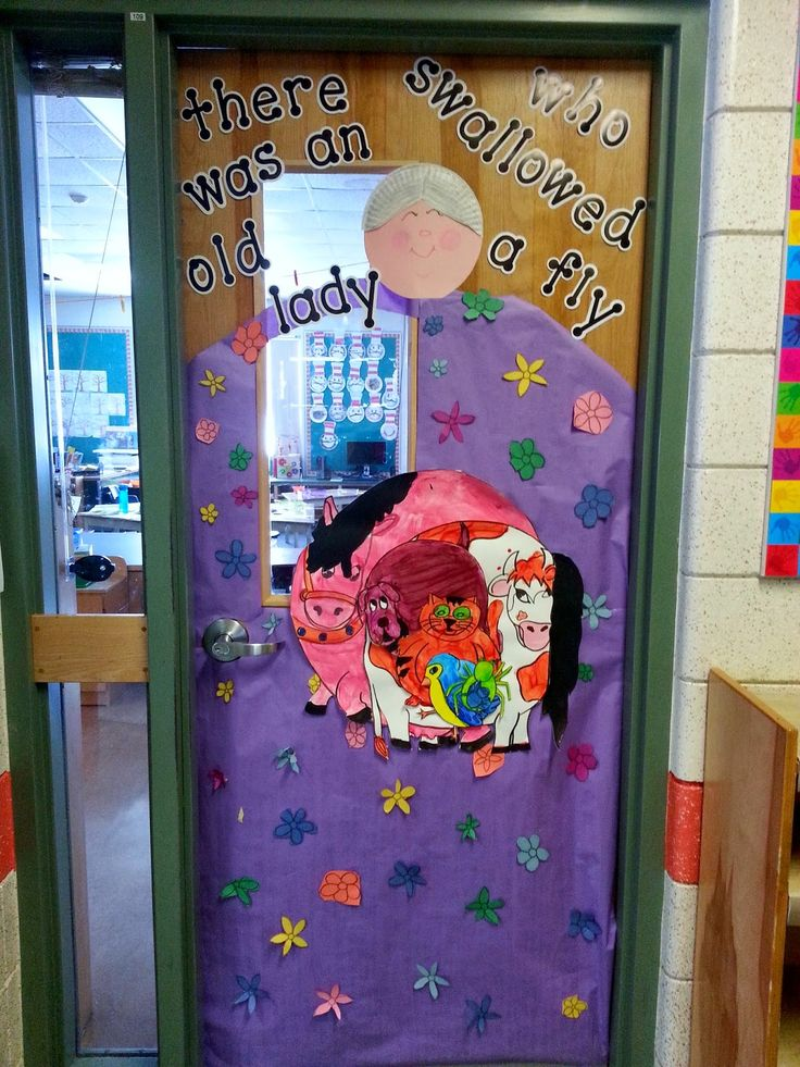 Classroom Door Decoration Ideas Reading ~ There was an old lady who swallowed a fly book themed door