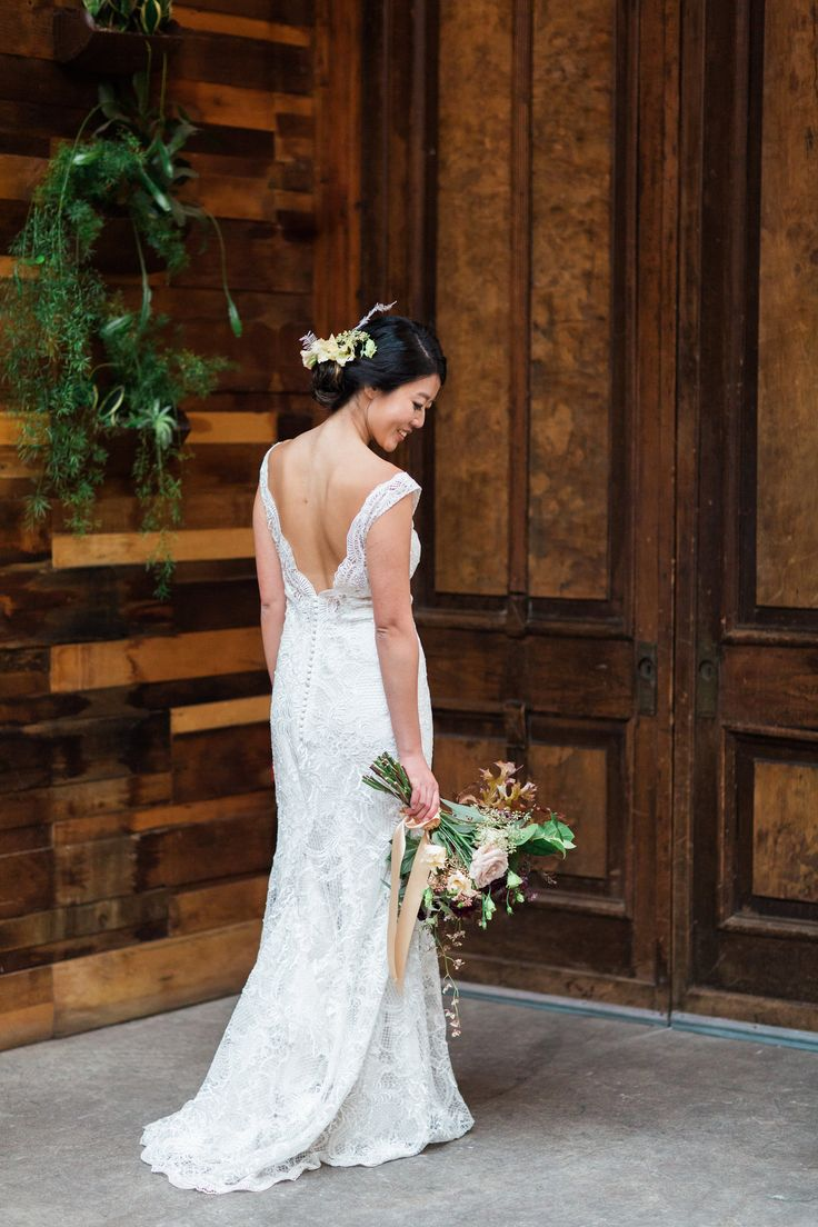 Lace wedding dress low back  The Smarter Way to Wed  White rose bouquet Lace wedding gowns and