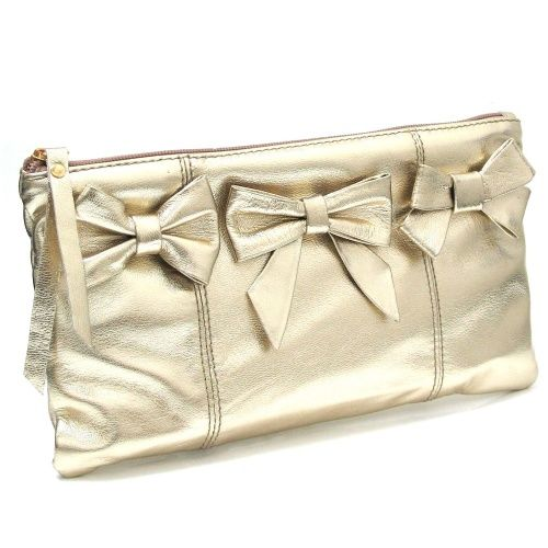 Marta Jonsson Gold Clutch Bag with Bows