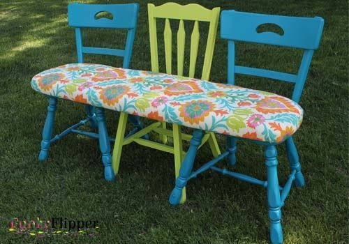 funky chair bench, diy, outdoor furniture, painted furniture, repurposing upcycling, After