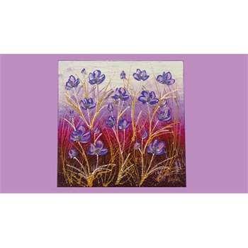 """Quadri floreali. """"Fiori astratti viola"""" Il quadro moderno astratto floreale, mette in risalto i toni del viola, lilla e del magenta. Bianco sporco e marrone si contrastano sullo sfondo dai due, facendo risaltare dei fiori come in un campo coloratissimo. Ideale in ambienti moderni che classici."""