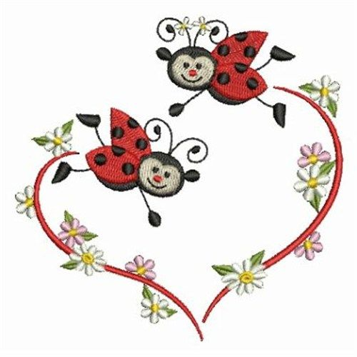 Ace Points Embroidery Design: Loving Ladybugs 3.83 inches H x 3.86 inches W