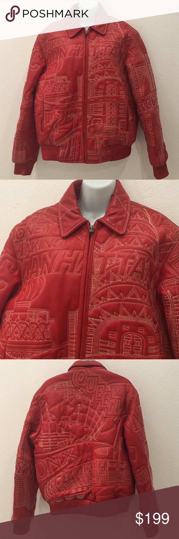 """Pelle Pelle by Marc Buchanan Red Leather Jacket 12 Preowned Authentic Embroidered Pelle Pelle by Marc Buchanan Red Leather Jacket 12/ L """"Money Making Manhattan"""" Zip up jacket. GOR-GOEUS!!! Has signs of wear due to wear.  Has small tear in collar and small pen marks near elbow. Please look at pictures for better reference. Happy shopping! Pelle Pelle Jackets & Coats"""