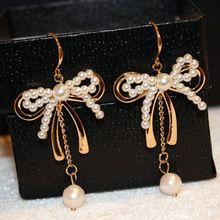С бантом серьги, Pendientes женские аксессуары Perlas Largos ювелирные изделия, букле D'oreille роковой perles, Brincos Grandes perolas, Orecchini женщин(China (Mainland))