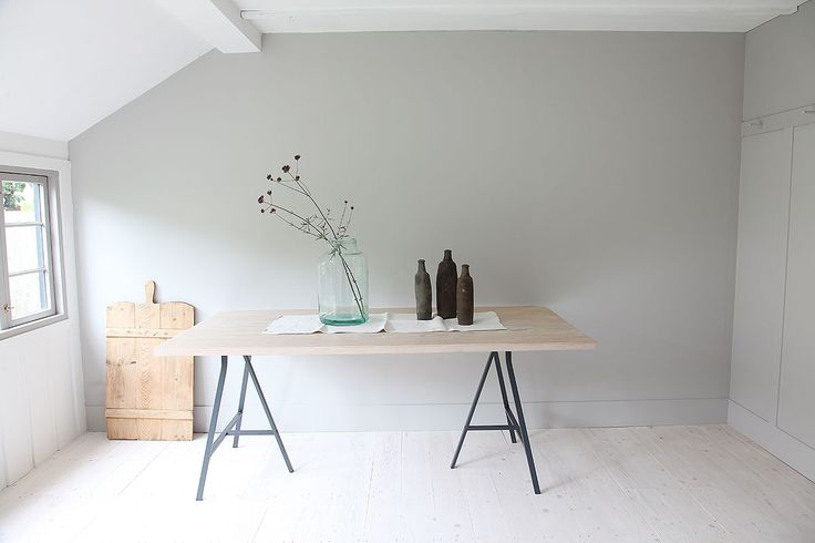 Douglas Fir Table - A Beautiful Home Tour Of A Traditional British Summerhouse In London Painted In Little Greene's French Grey And Farrow & Ball's Off Black   Photos By Light Locations