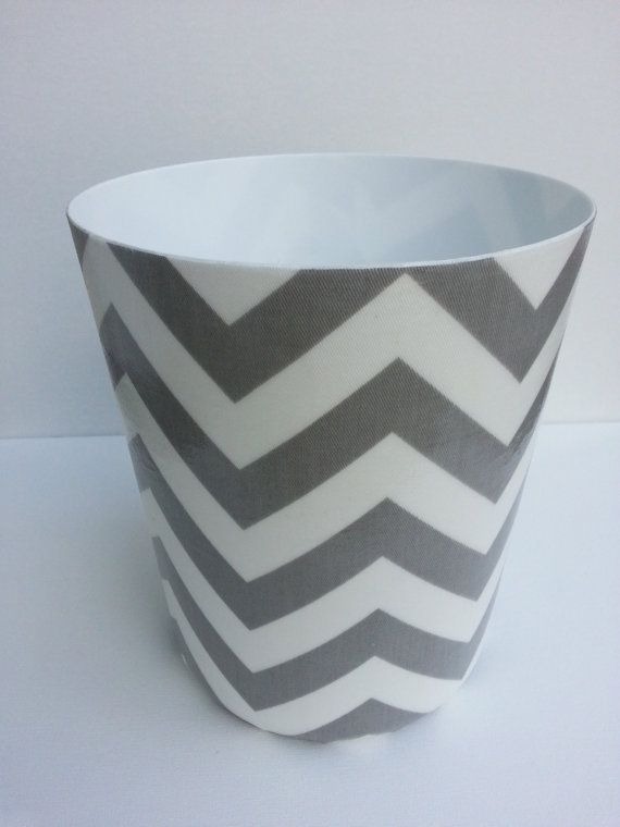 Chevron Wastebasket - Trash Can - Your choice of color (Grey, Black, Red, Yellow, Turquoise, Green) and White