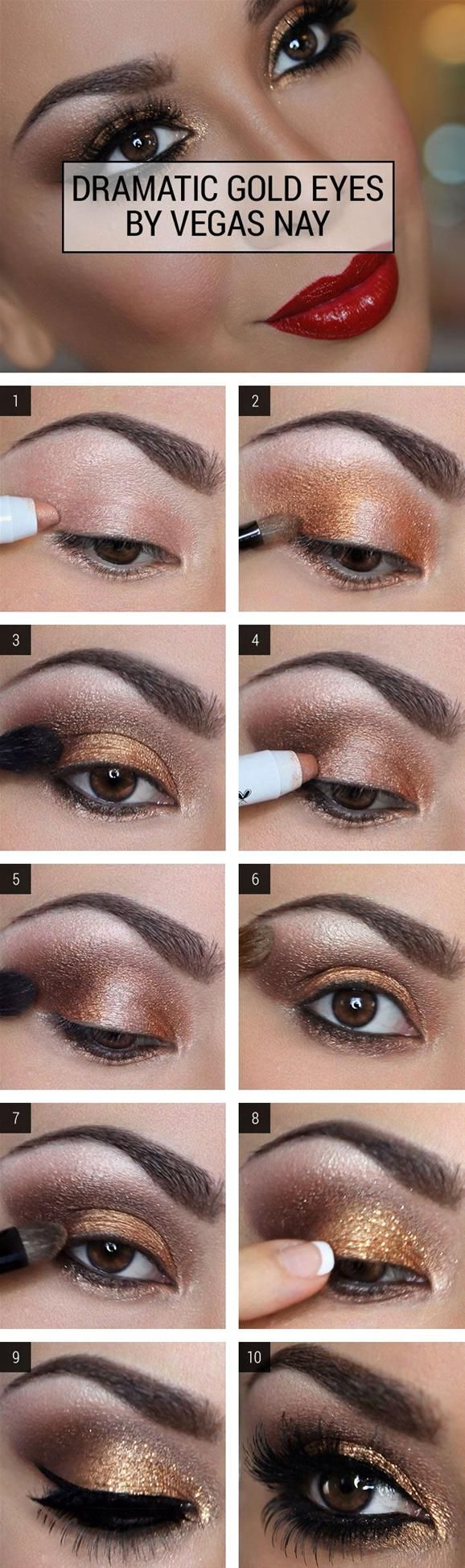 I want this for my 30th, Lord willing. Dramatic Gold Eye Makeup Tutorial - Brown Smoky Eye Makeup Tutorial -